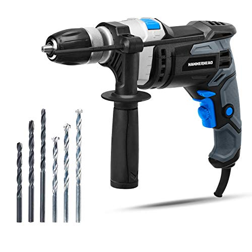 Hammerhead 7.5-Amp 1/2 Inch Variable Speed Hammer Drill with 3pcs Metal Bit and 3pcs Concrete Bit - HAHD075 (Renewed)