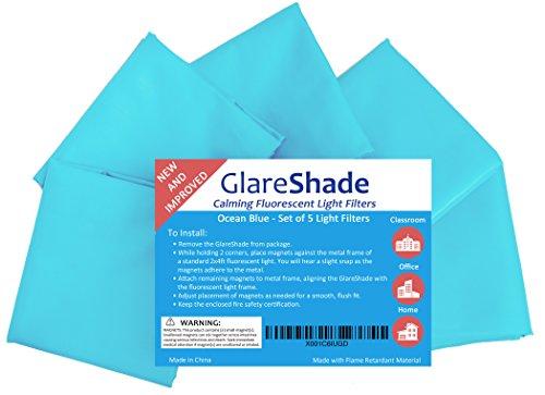GlareShade Fluorescent Light Filter Diffuser Covers 5 Pack. Blue. Eliminate Harsh Glare, Eyestrain...