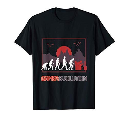 Gamer Evolution Gaming perfekt für Zocker   Gaming Geschenk T-Shirt