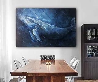 La ballena en el océano, dibujo original sobre lienzo de oleo, Pintado de mano, 90x60