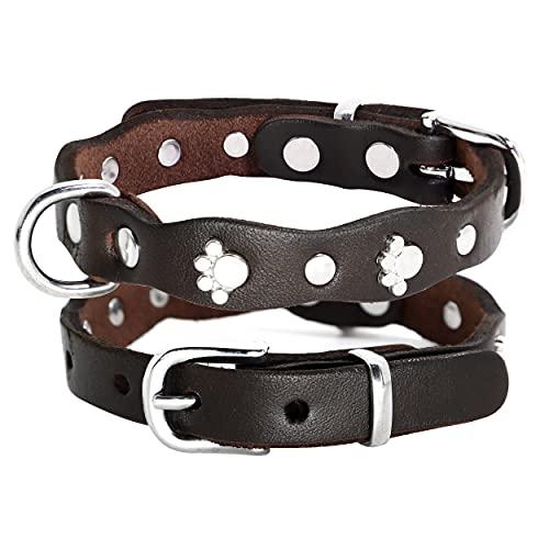 PET ARTIST Luxury Genuine Leather Dog Collar-Handmade