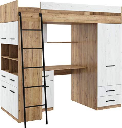 Hochbett mit Schreibtisch, Schubladen, Kleiderschrank und Bücherregal - Level L - (CraftGold/CraftWeiß)
