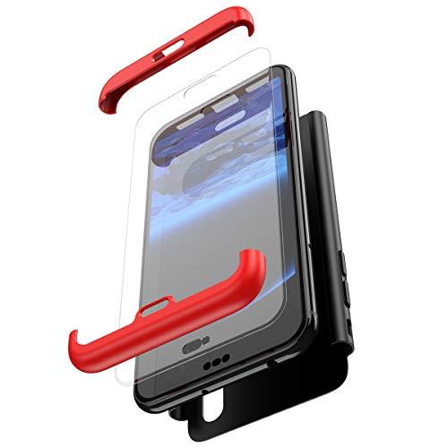 JAWSEU JBGMB000427 Huawei P20 Lite Hoes,3-in-1 Telefoonhoesje PC harde schaal beschermhoes rood/zwart