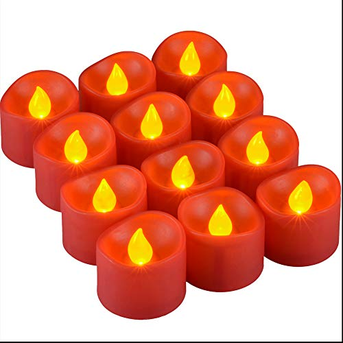 12 Packs LED Tea Lights Candles, PChero Flickering Flameless Tealight Battery Operated Fake Candles, Decoration for Wedding Party Halloween Christmas Centerpieces Fall Decor