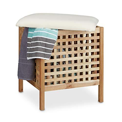 Relaxdays Badhocker Walnuss mit Wäschesammler HBT: 52 x 49 x 49 cm Badhocker mit Sitzkissen aus Leinen und Wäschekorb 52 Liter Sitzhocker mit Stauraum aus Massiv Walnuss Holz, natur weiß