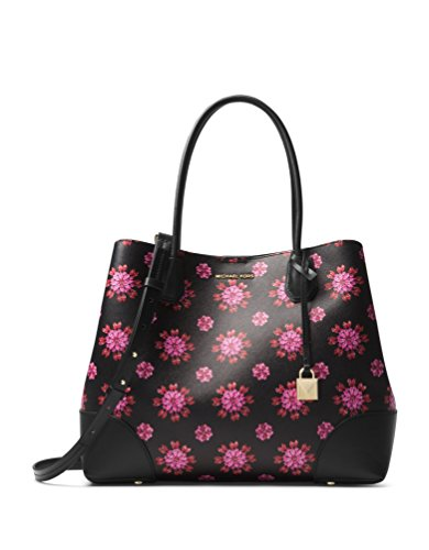 """Black/Ultra Pink elegant textured tote with vivid floral design with leeather trim. Magnetic snap closure. One interior zip pocket and four interior slip pockets. Top handle, 7.25"""" drop ; Adjustable shoulder strap, 17"""" - 20.5"""" drop. 15.5""""W x 11.5""""H x..."""