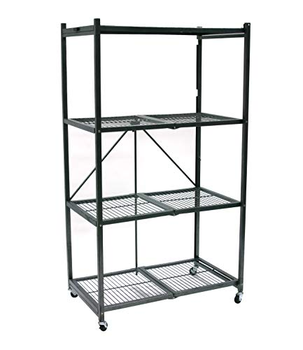 Origami 4-Shelf Foldable Storage Shelves   for Garage Kitchen Bakers Closet, Metal Wire, Collapsible Organizer Rack, Holds up to 1000 pounds, Powder-Coated Steel, Heavy Duty   Pewter