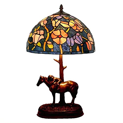 Art Deco - Lámpara de mesa vintage de 30,48 cm, estilo Tiffany, para escritorio, vidriera, luces de lectura, decoración para dormitorio, salón, cafetería, bar, accesorios de iluminación (tamaño B: B)