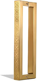 12 Inch Square Rectangle Flat Shape Stainless Steel Modern Contemporary Entry Door Handle Bar Pull Shower Glass Sliding Barn Door Entrance Interior Exterior Door Pull Push Engraved Gold Plated Finish