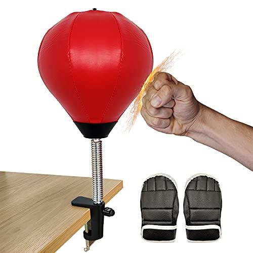 Ubaywey Punchingball Desktop Boxsack Tisch BoxbirneSpeedball Boxing mit Klemme Inflator Mini Boxball für Büro Schreibtisch Stressabbau Punching Ball Fitness Jugendliche Erwachsene (Clip Set, 16)