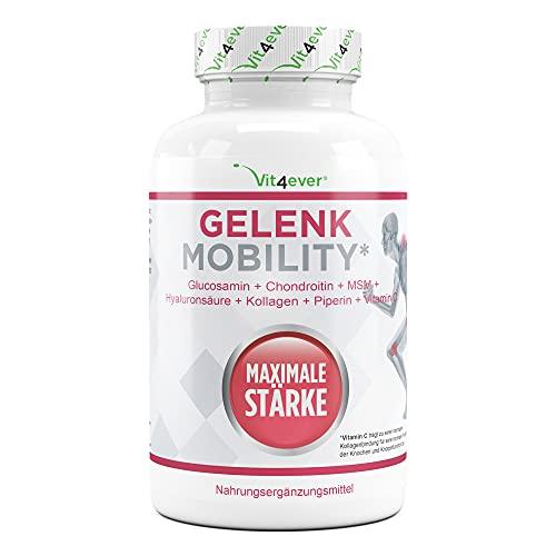 Movilidad articular 120 comprimidos - Altamente dosificado con 7 ingredientes activos: Glucosamina + Condrotin + MSM + Ácido hialurónico + Colágeno + Vitamina C + Piperina