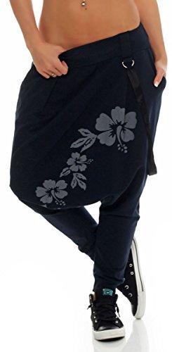 malito dames harembroek met laaghangend kruis | Broek met bloemen opdruk | Baggy om te dansen | Sweatpants - Joggingbroek 91085