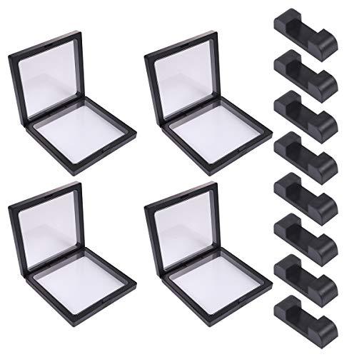UPKOCH Klare Displayrahmen Set Floating Holder Schmuck Staubdichte Box für Halskette Ring Armband (Schwarz, 4 Boxen + 8 Basen)