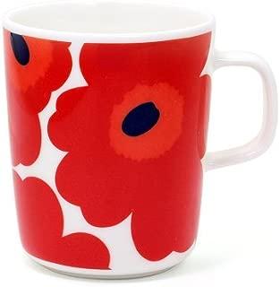 マリメッコ marimekko 花柄 マグカップ ウニッコ コップ 北欧 デザイン雑貨 陶器 ブランド UNIKKO MUG CUP 63431/250ml (名入れなし, レッド)