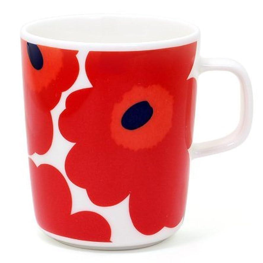 組み合わせコウモリ予測マリメッコ marimekko 花柄 マグカップ ウニッコ コップ 北欧 デザイン雑貨 陶器 ブランド UNIKKO MUG CUP 63431/250ml (名入れなし, レッド)
