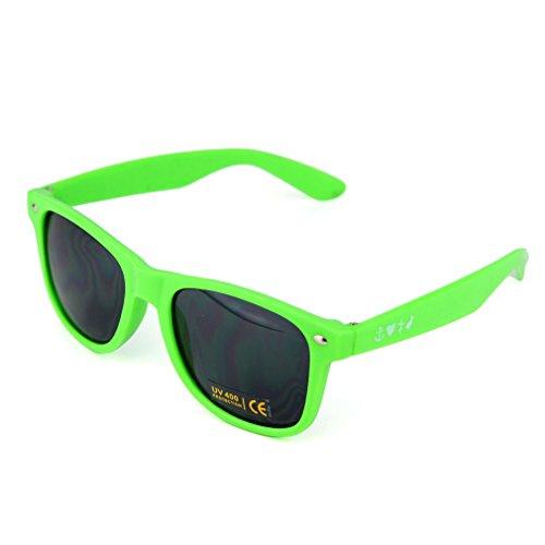 Archetype Apparel Unisex Sonnenbrille UV 400 - GlaubeLiebeHoffnung Nerd Sonnenbrille mit Kiwi Logo Rot Grün (One Size, Grün)