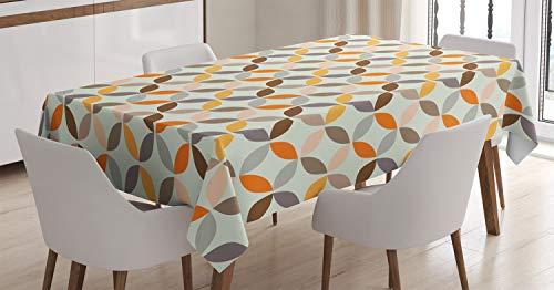 ABAKUHAUS círculo geométrico Mantele, Ángulo del azulejo cíclica, Resistente al Agua Lavable Colores No Destiñen Personalizado, 140 x 200 cm, Multicolor