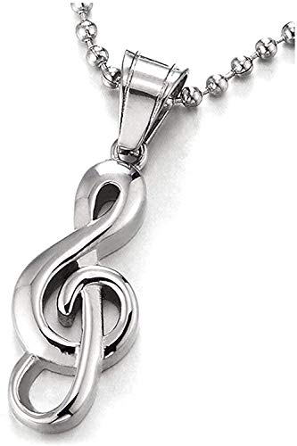 LDKAIMLLN Co.,ltd Collar Moda Clave de Sol Colgante de Música Collar de Acero Inoxidable para Hombres y Mujeres Regalos de Moda Collar Colgante Regalo para Hombres Mujeres Niñas Niños