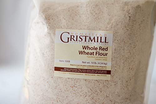 Homestead Gristmill — Non-GMO, Chemical-Free, All-Natural, Stone-ground Whole Red Wheat Flour (10 lb), Artisanally Milled from Hard Red Wheat Berries