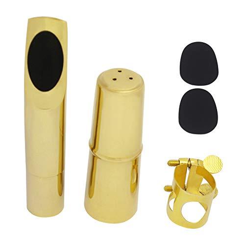 LJRck Alto Sax Saxofoon Mondstuk Metaal met Mondstuk Pads (5C) Stuur Gesp, Mondstuk Cover, Tandpad