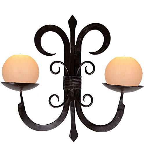 Orientalischer Wandkerzenhalter Kerzenleuchter Vigo 39cm Groß 2 armig massiv | Marokkanischer Vintage Metall Kerzenhalter als Landhaus Wanddeko oder antik Wand Leuchter für Kerzen im Wohnzimmer