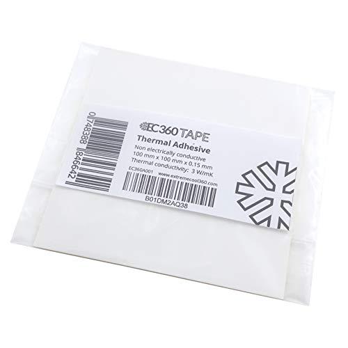 EC360® Tape Beidseitig Selbstklebende Wärmeleitfolie 3W/mK Wärmeleitfähige Thermal Klebefolie z.B. für Kühler (100 x 100 mm)