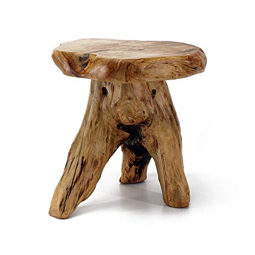 WELLAND Tree Stump Stool Live Edge, Natural Edge Side Table, Plant Stand, Nightstand, Mushroom Stool 14' Tall