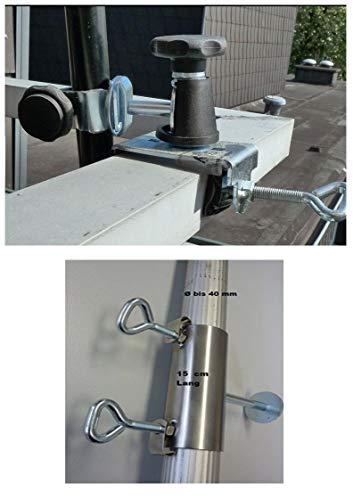 NUEVO–Acero inoxidable abstands–Balcón–Pantalla–Soporte para palos pantalla de hasta 40mm de diámetro–Acero inoxidable–Pantalla...
