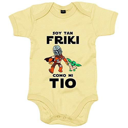 Body bebé soy tan friki como mi tio parodia baby yoda - Amarillo, 6-12 meses