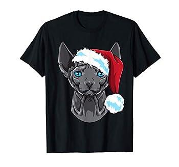 Chat Sphynx Chat sans poils Chapeau de Père Noël T-Shirt