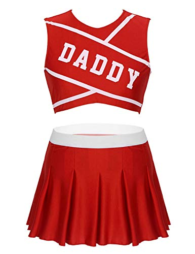 XUNZOO Women Adults Cheer Leader Uniform Daddy Crop Top Pleated Skirt School Girl Lingerie Set Roleplay Costume Red Small