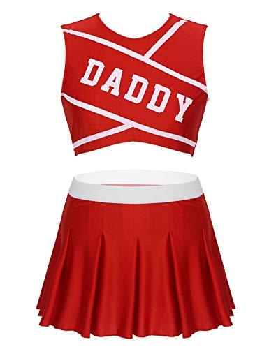 Choomomo Damen Daddy Mädchen Kostüm Cheer Leader Cosplay Cheerleading Kostüm Dessous Outfit -  Rot -  X-Groß