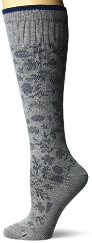 Dr. Scholl's Women's Travel Knee High Socks with Graduated Compression, Gray Paisely, Shoe Size: 4-10