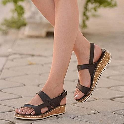 DZQQ Sandalias de Mujer Verano 2021 Zapatos Femeninos Mujer Peep-Toe Wedge Sandalias cómodas Sandalias Planas Sandalias Femeninas de Talla Grande 43