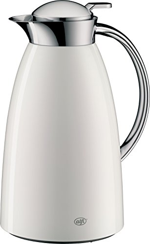 alfi Gusto Glas Vakuum lackiertem Metall Thermo-Karaffe für heiße und kalte Getränke, 1.0l, Schwarz, weiß, 10.8X 6.6X 5.9