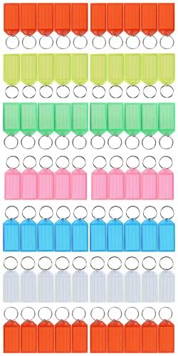 Porta Chiavi Plastica, Portachiavi Targhette per Chiavi - Anelli per Portachiavi con Inserto per Etichetta e Rondella Sdoppiata, multicolori. 70pz (Sei colori, 70pz 5.6×2.9cm)
