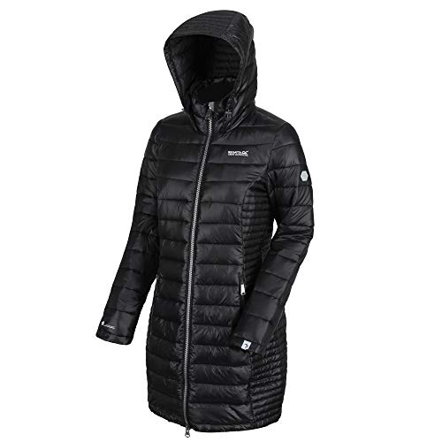 Regatta Damen Andel Lightweight Water Repellent Ultra Warm Atomlight Insulated Long Length Puffa Jacket Steppjacken, Schwarz, 2XL (20)