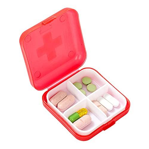 Caja de 4 rejillas para medicina, mini dispensador de enrejado de plástico, divisor de joyas, caja de almacenamiento para el hogar y viajes