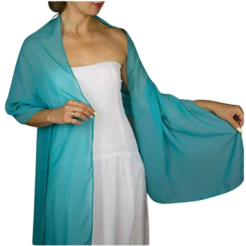 Chal chiffon color verde turquesa azul claro novia boda novia para vestido de fiesta