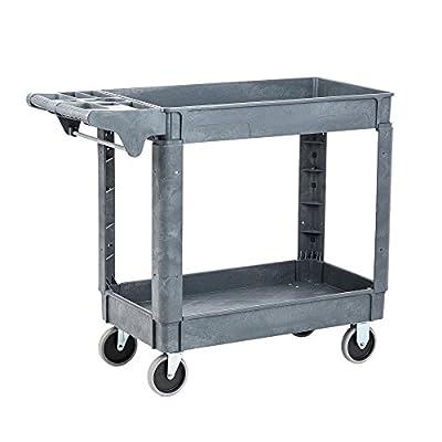 Pearington Multi Purpose Heavy Duty Commercial Grade 2 Shelf Service Cart and Utility Cart with 500lb Loading Capacity, Gray