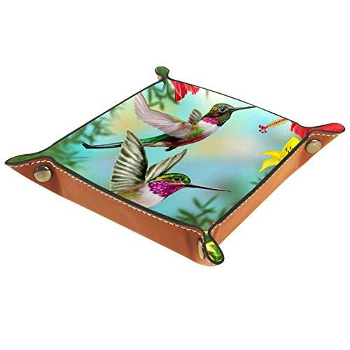Caja de almacenamiento pequeña, bandeja de valet para hombre,Dos pájaros Pájaros de zumbidos ,Organizador de cuero para llaves de caja de monedas