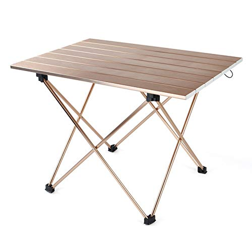 LCSD Camping furniture Outdoor Lightweight Aluminum Alloy Simple Folding Table Portable Brown Coffee Camping Picnic Fishing Barbecue Beach Holiday Self-driving Metal Wire Drawing