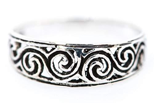 WINDALF Zarter Schmaler Kelten Silberring NEWGRANGE 0.6 cm Celtic Spirals Glücksring Bohemia Elfenschmuck Vintage 925 Sterlingsilber (Silber, 60 (19.1))
