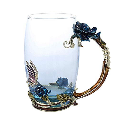 Chomile Enamel Coffee Tea Cup Mug 3D Rose Butterfly Glass Cups Wedding Gift