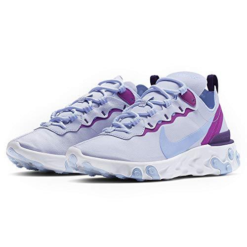 Nike W React Element 55, Zapatillas de Running para Mujer, Multicolor (Football Grey/Psychic Blue-Hyper Violet 8), 40 EU