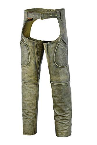Mens Cowhide Premium Leather Elastic Fit Chaps (Large)