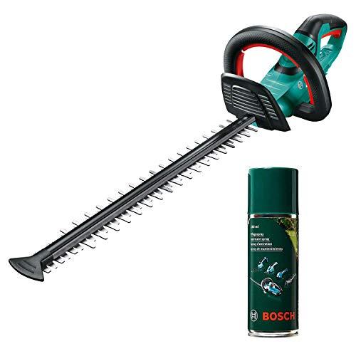 Bosch Akku Heckenschere AHS 55-20 LI (ohne Akku und Ladegerät, 18 Volt System, Schnittlänge 55cm, Messerabstand 20mm, im Karton) + Pflegespray, grün