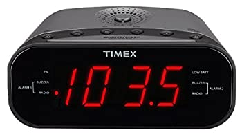 Timex T231GY AM/FM Dual Alarm Clock Radio with 1.2-Inch Red Display and Line-In Jack  Gunmetal