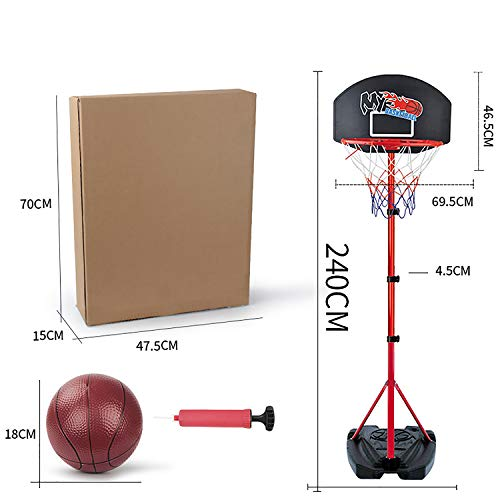 EODPOT Junior Height Adjustable Basketball Hoop,Free Standing Portable Basketball Stand for Kids,with Ball and Pump Suit,Best Gift for children-240cm