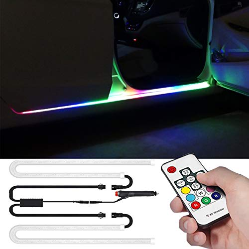 Car LED Lights Strip,Multi Color RGB 2 Pcs 70.86 inches Running Board Lights,Exterior Ambient Lighting Kits,Side Marker & Courtesy Lights Strip,Wireless Remote Control,for Pickup Trucks, SUV, Cars